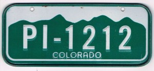 Colorado Bicycle License Plate PI-1212
