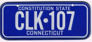 Connecticut Bicycle License Plate Constitution State CLK-107