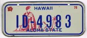 Hawaii Bicycle License Plate 78