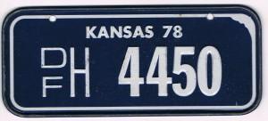 Kansas Bicycle License Plate 78