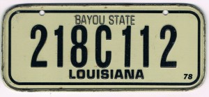 Louisiana Bicycle License Plate 78