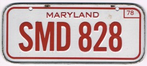 Maryland Bicycle License Plate 78