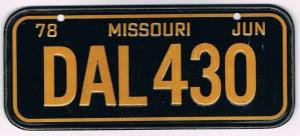 Missouri Bicycle License Plate 1978