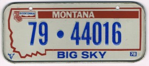 Montana Bicycle License Plate 78