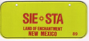 New Mexico Bicycle License Plate 89