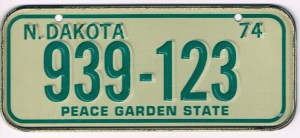 North Dakota Bicycle License Plate 74