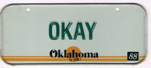 Oklahoma Bicycle License Plate 88