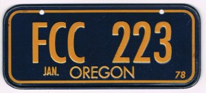 Oregon Bicycle License Plate 1978