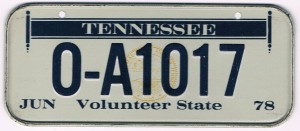 Tennessee Bicycle License Plate 1978