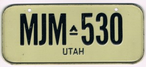 Utah Bicycle License Plate