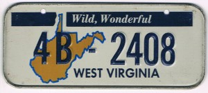 West Virginia Bicycle License Plate