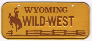 Wyoming Bicycle License Plate Wild West