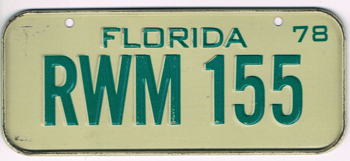 Florida Bicycle License Plate 78
