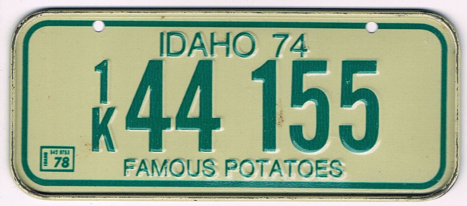 Idaho Bicycle License Plate 74 78