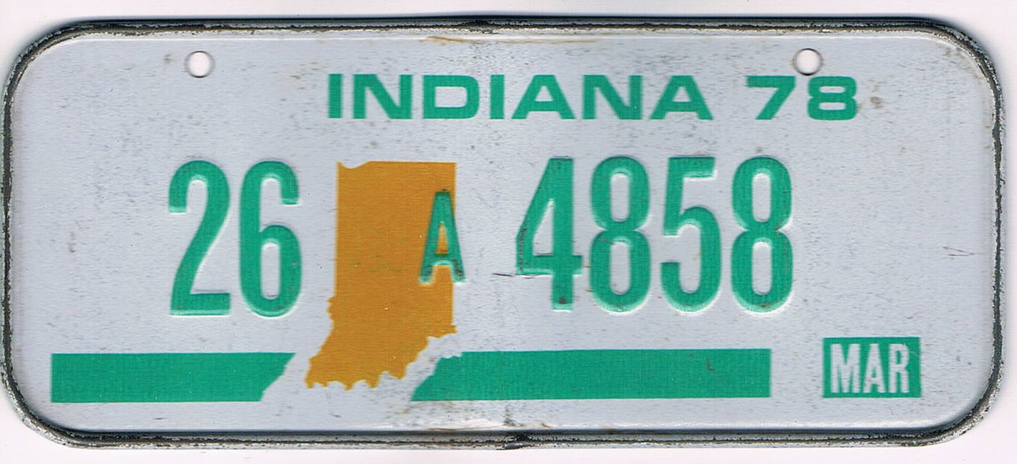 Indiana Bicycle License Plate 78