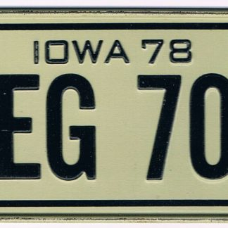 Iowa Bicycle License Plate 78