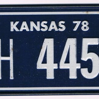 Kansas Bicycle License Plate 78