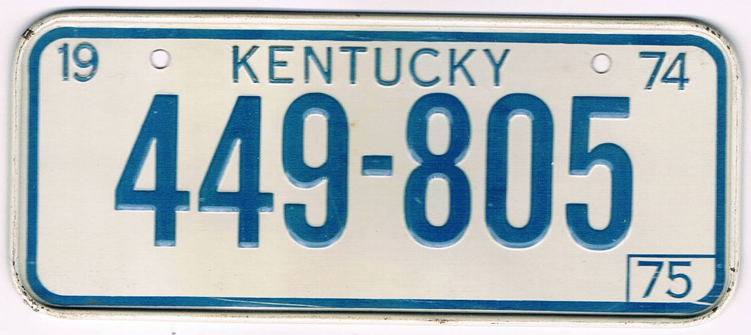 Kentucky Bicycle License Plate 75