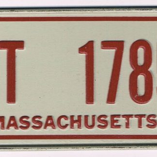Massachusetts Bicycle License Plate 5T 1785