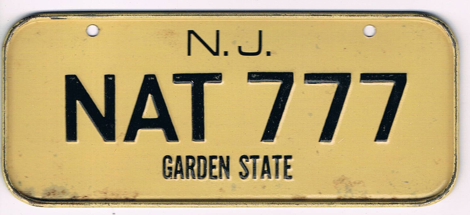New Jersey Bicycle License Plate NAT 777