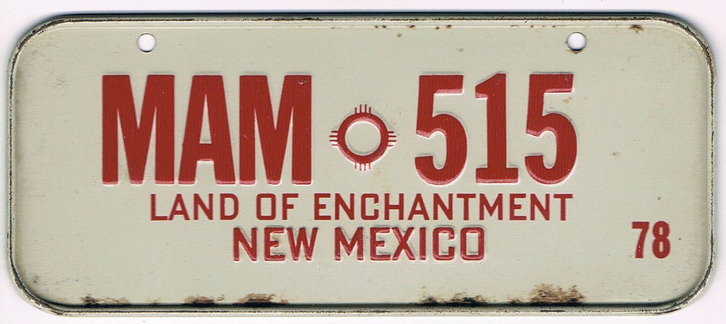 New Mexico Bicycle License Plate 78