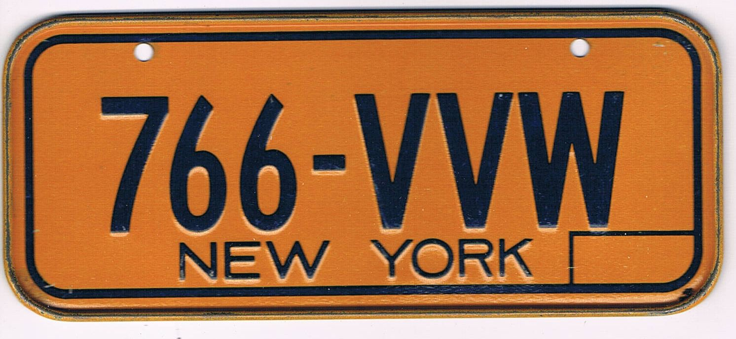 New York Bicycle License Plate 766-VVW