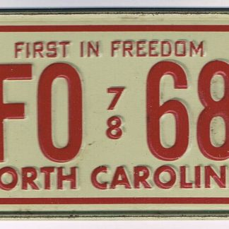 North Carolina Bicycle License Plate 78