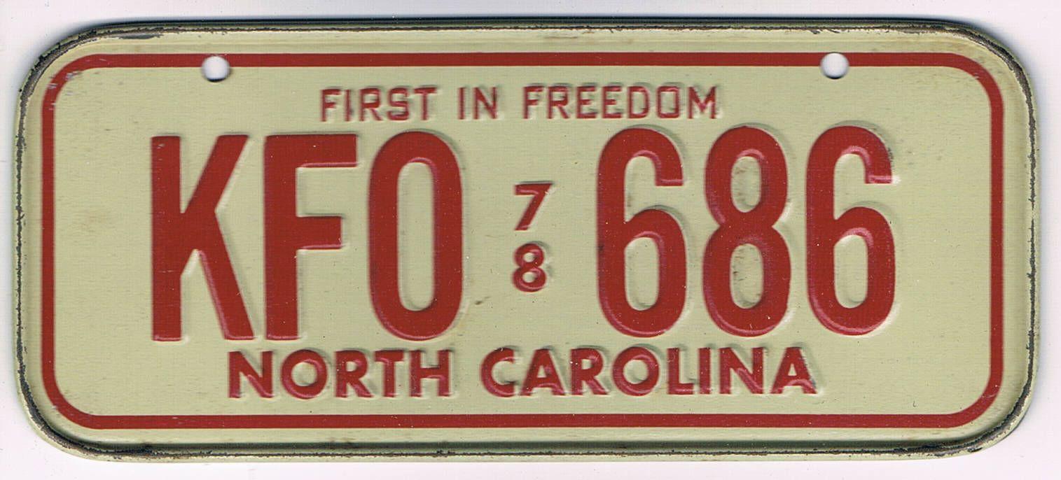 North Carolina Bicycle License Plate 78