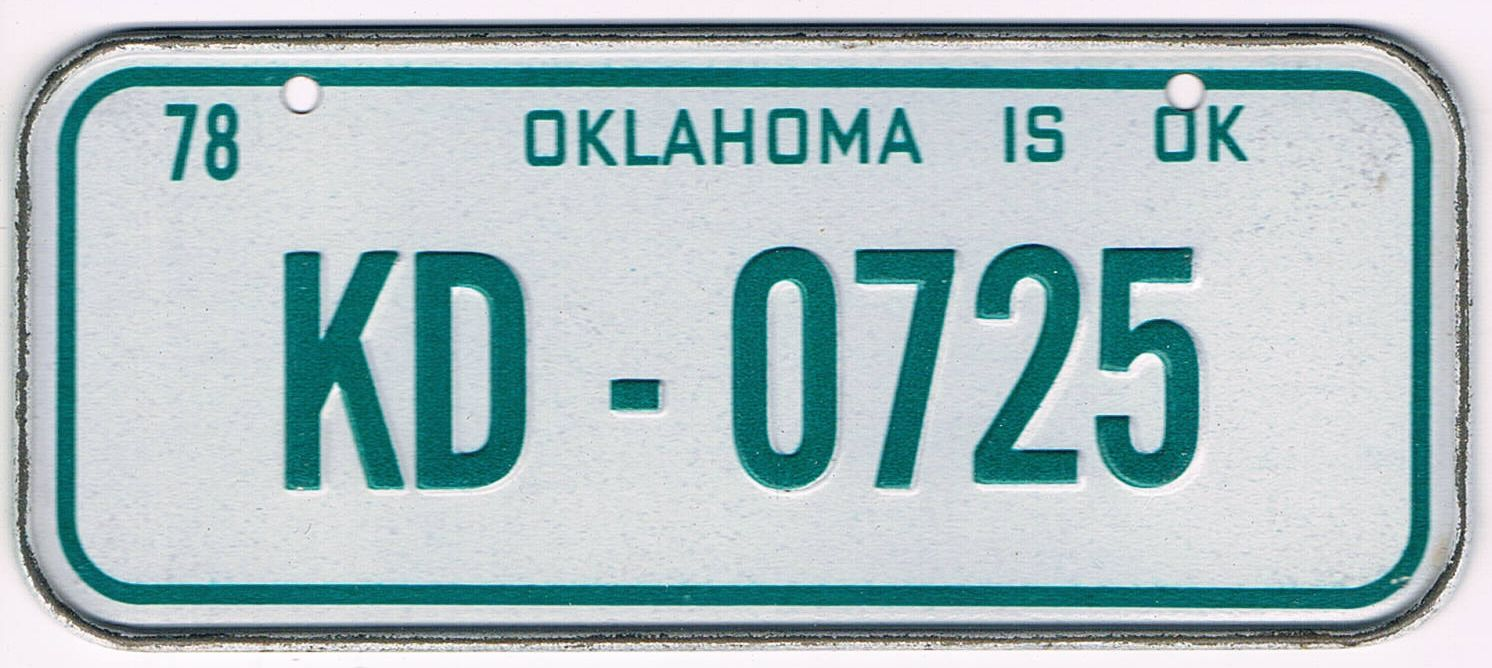 Oklahoma Bicycle License Plate 78