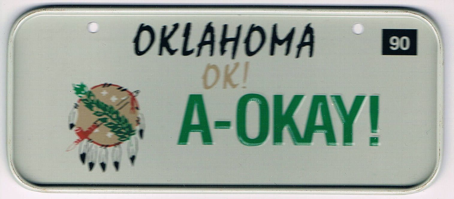 Oklahoma Bicycle License Plate 90