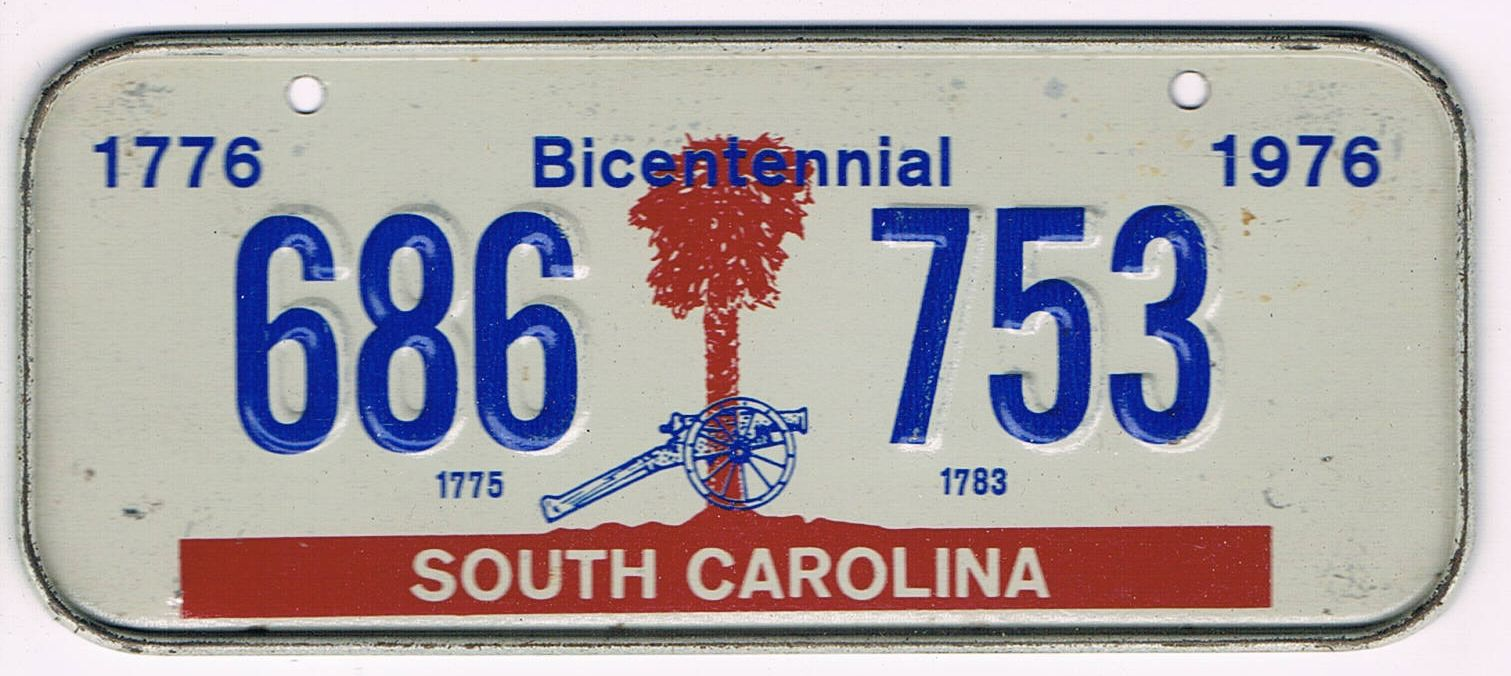 South Carolina Bicycle License Plate 76
