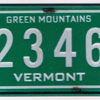 Vermont Bicycle License Plate 2346
