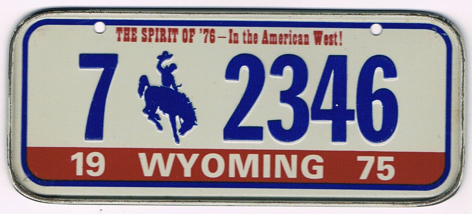 Wyoming Bicycle License Plate 75